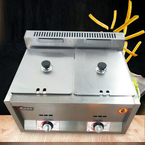 12l Commercial Countertop Fryer Stainless Steel Large Double Cylinder Gas Fryer