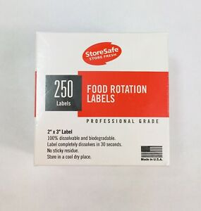 Food Storage Date Mark Rotation Dissolvable Labels Stickers Cambro 2 X 3 250ct