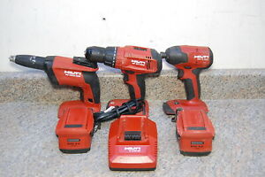 Hilti 22v Tool Set With Screwdriver Impact Hammer Drill 2 Batteries Charger