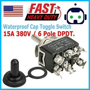 Waterproof 6pin Dpdt Toggle Switch Boot Cap On off on Amp