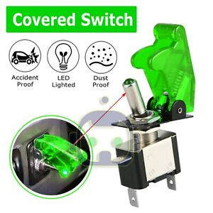 Green Cover Led Toggle Switch Racing Spst Onoff 20a Atv 12v For Car Truck