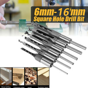 6x Square Hole Saw Auger Mortise Drill Bit Set Mortising Chisel Woodworking Tool