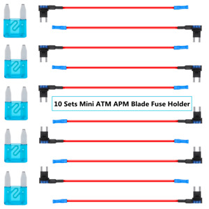 10 Packs 12v Car Add a circuit Fuse Tap Adapter Mini Atm Apm Blade Fuse Holders