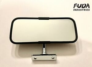 Vintage Universal Antique Car Coupe Interior Rear View Mirror Wrinkle Finish