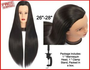 Mannequin Head Human Hair 26 28 Synthetic Hairdressers Styling Training Doll