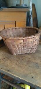 Antique Early Country Handmade Wood Splint Basket Red Dry Paint 10 Best Form