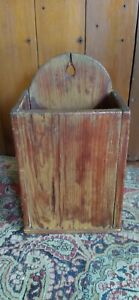 Antique Early Handmade Wood Candle Pipe Wall Box Old Mustard Paint 13 5 Sq Nail