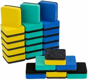 24 Pieces Magnetic Whiteboard Erasers 2x2 In