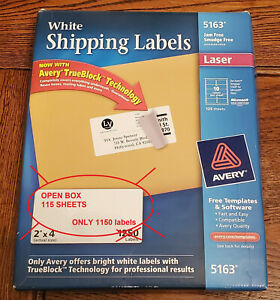 Avery 5163 2x4 White Shipping Labels Open Box 115 Sheets 1150 Labels Laser