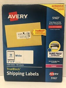 Avery White Shipping Labels With Trueblock Technology 2 X 4 Box Of 1000