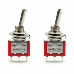 2pcs Mini 6mm Mts 102 Toggle Switch 3 Pin 2 Position On on 5a 125vac