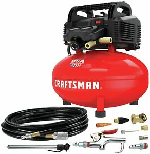 Craftsman Air Compressor 6 Gallon Pancake Oil free With 13piece Accessory Kit