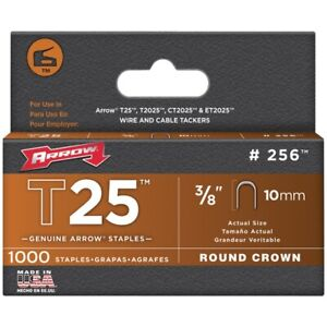 Arrow Fastener 256 Round Crown Staples For T25 3 8 1 000 Pack