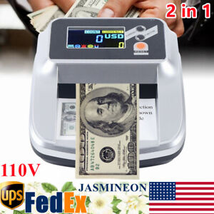 Money Bill Counter Machine Cash Counting Counterfeit Detector Us Dollar 2 In 1