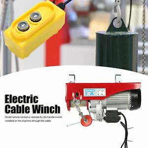 2200lb Electric Cable Winch Hoist 18m Rope Remote Cable Crane Chain Lifting Tool