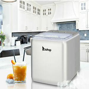 Portable Ice Maker Machine Countertop 44lbs 24h Self cleaning With Scoop Silver