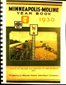 1930 Minneapolis moline Year Book For The Care And Operation Of Farm Machinery