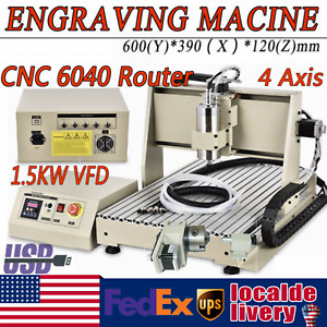 Usb 4 Axis 1500w Cnc 6040 Router 3d Engraver Wood Metal Drill milling Machine