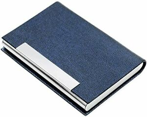 Business Card Case Luxury Pu Leather Stainless Steel Multi Card Case blue