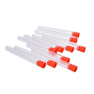 10 Pcs Clear Plastic Test Tubes With Caps Stoppers 12x100mm Stecn