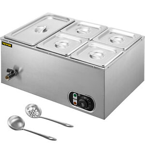 Vevor Commercial Food Warmer Bain Marie Steam Table Countertop 5 pan Station
