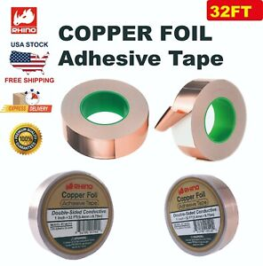 Rhino Copper Foil Adhesive Tape Double sided Conductive 2 x16ft 50 8mm 5m