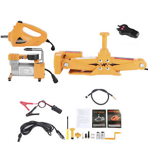 16 5in 3 Ton Electric Scissor Jack Lifting With Electric Impact Wrench Air Pump