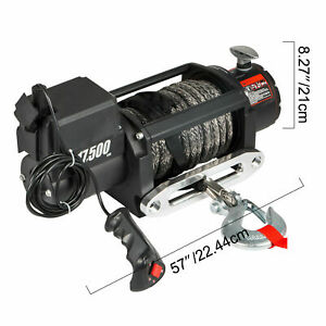 A17500lbs Electric Winch Waterproof Truck Trailer 85ft Synthetic Rope Off Road
