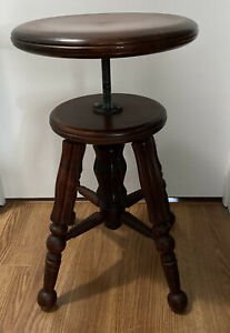 Antique Victorian Carved Legs Piano Organ Stool Excellent Condition
