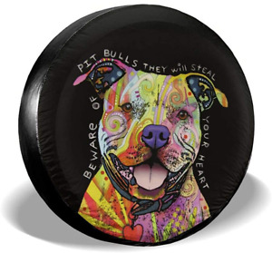 Universal Car Tire Cover Pit Bull Dog Polyester Waterproof For Trailer Rv 15inch