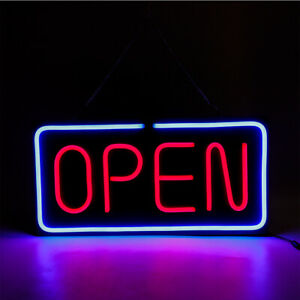 Neon Open Sign 24x12 Inch Led Light 30w Horizontal Clubs Hanging Chain Durable