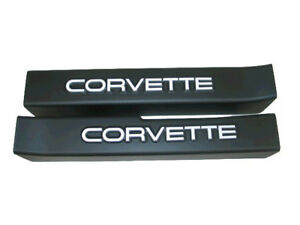 1990 1996 Corvette Door Sill Covers Black With White Logo
