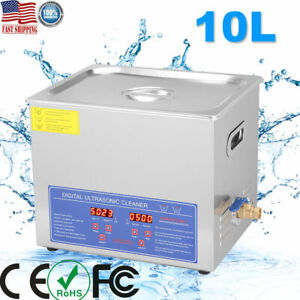 10l Industry Heated Ultrasonic Cleaner Heating Heater Stainless Steel W timer