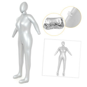 Pvc Woman Whole Body With Arm Inflatable Mannequin Torso Model Display Silver