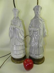Antique Pair Of Celadon Chinese Figural Male Female Statue Lamps Bronze Bases