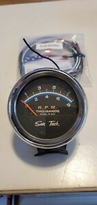 Vintage Sun Tach St 602 8000 Rpm Tachometer 2 Blue With New Wiring Kit
