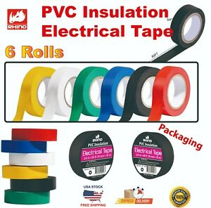 Rhino 6 Rolls Pvc Insulation Electrical Tape 3 4 In X60ft 19mm X 18m 6 Colors