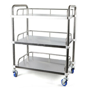 3 Layers Cart Trolley Stainless Steel Lab Mobile Rolling Serving Delivery Cart