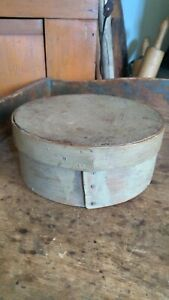 Antique Early Primitive Wood Pantry Box Old Green Paint Worn Surface 6 5 Good