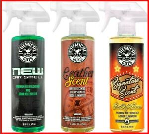 Chemical Guys 3x16 Oz Freshener Kit New Car Scent Leather Scent signature Scent