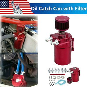 Universal Oil Catch Can Kit Baffled Reservoir Tank Aluminum Red 300ml With Hose