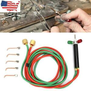 Gas Torch Twin Welding Torch Hose Oxygen Acetylene Oxy For Cutting W 5 Tips