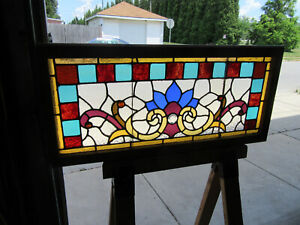 Antique Stained Glass Transom Window Colorful 44 X 20 Architectural Salvage