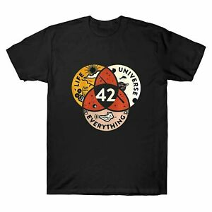 42 The Answer To Life The Universe And Everything Vintage Men T shirt Black Navy