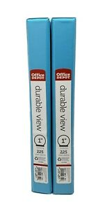 Office Depot Durable 3 Ring Binder 1 Round Rings Blue School Pockets Lot Of 2