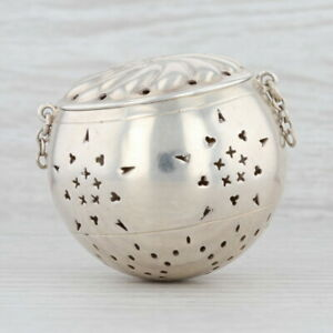 Antique Tea Ball Strainer Sterling Silver 58 Tea Service Broken Chain As Is