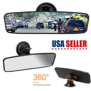 Car Suction Cup Rear View Mirror Angle Adjustable Interior Wide Glass Mirror