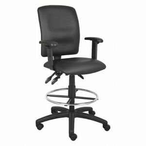 Zoro Select 452r14 Leather Drafting Chair 29 1 2 Adjustable Black