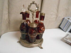 Anitque Vintage Castor Set 5 Ruby Red Cut To Clear Glass Cruet Set