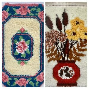 Lot Of 2 Vintage Hooked Shag Rugs Floral Almost Complete 27 X 20 Shabby Chic